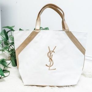 Yves Saint Laurent Opium white canvas tote bag